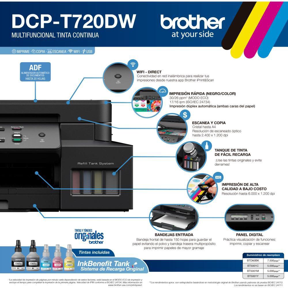 Multifuncional Brother Dcpt720dw Dúplex, Wifi Y Adf image number 2.0