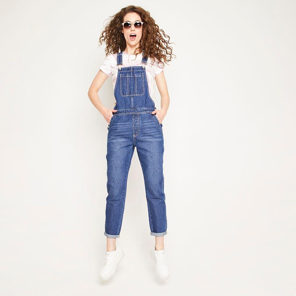 Jardinera Larga Jeans Mom Regular Fit Sin Mangas Mujer Freedom image number 1.0