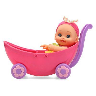 Muñeca Hitoys Bebe En Stroller 3en1 28cm