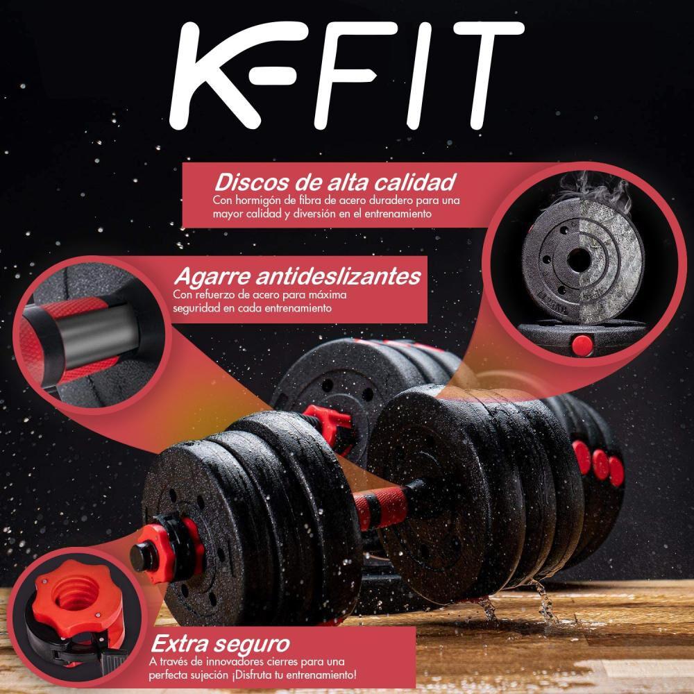 Set De Mancuernas Y Barra Mancuernas K-fit R6001 image number 5.0