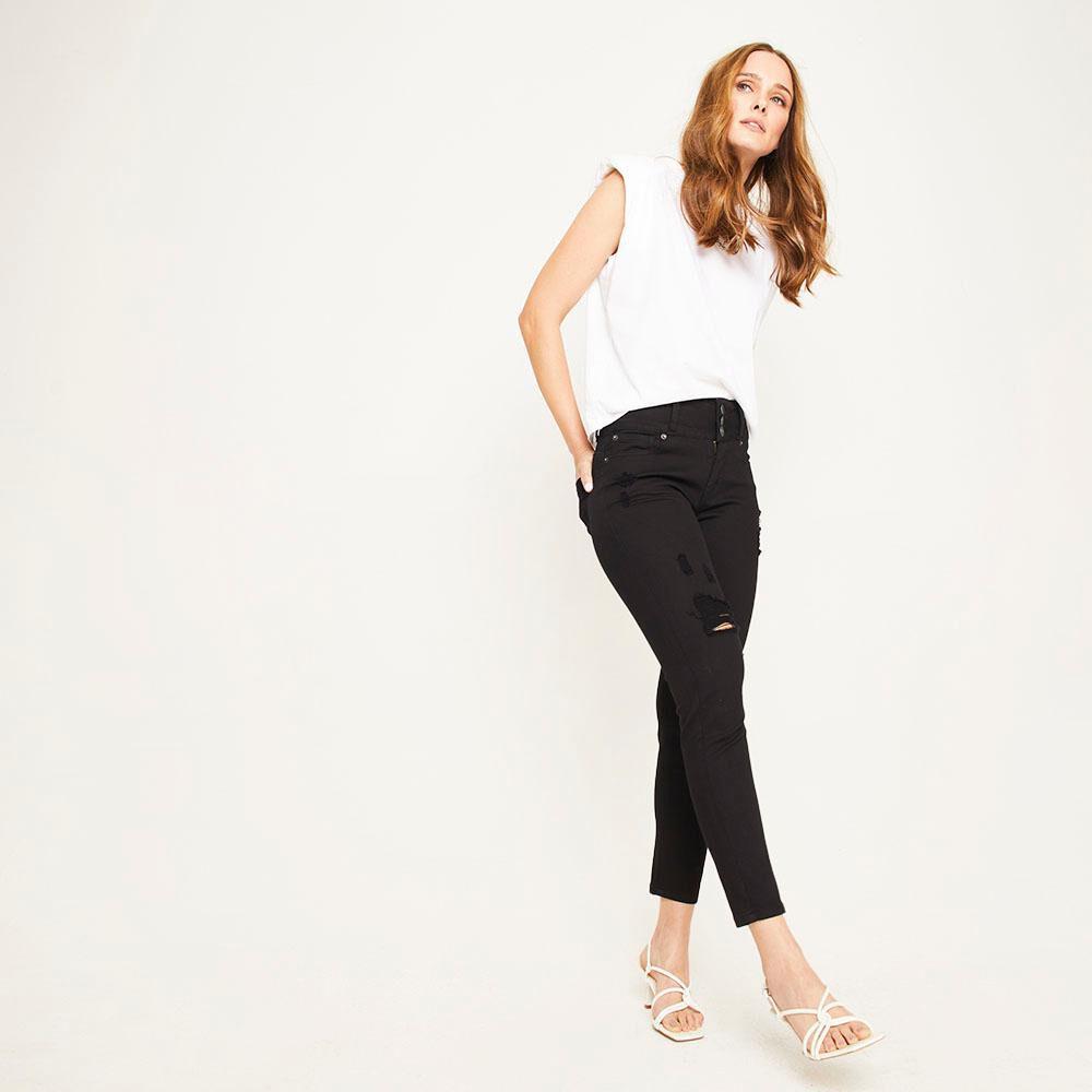 Jeans Color Tiro Alto Skinny Push Up Con Roturas Mujer Kimera image number 1.0