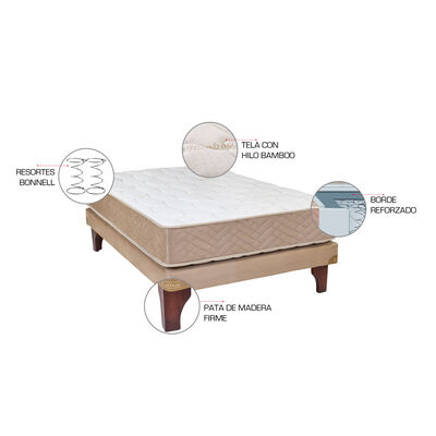 Cama Europea Celta Bamboo / 1.5 Plazas / Base Normal