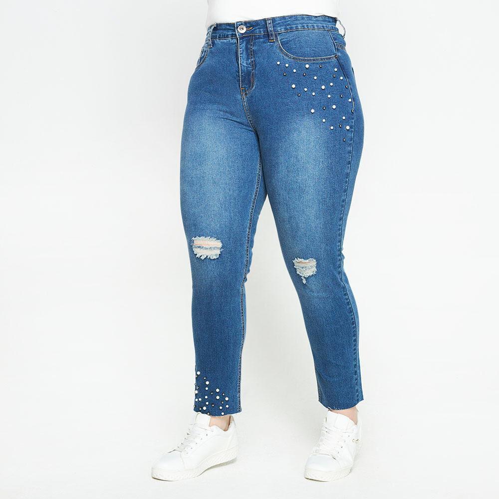 Jeans Con Aplicación Perlas Tiro Medio Regular Mujer Sexy Large image number 0.0