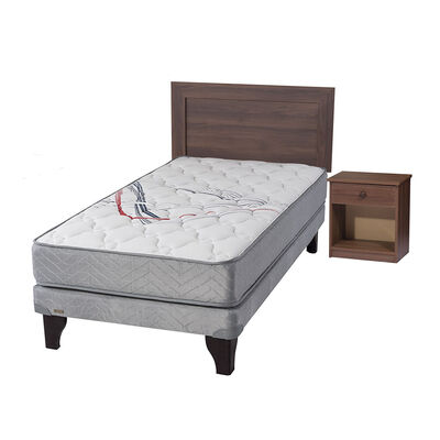 Cama Europea Flex Therapedic / 1.5 Plazas + Set De Maderas Asturias