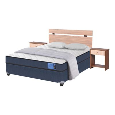 Cama Americana Cic Excellence / 2 Plazas / Base Normal  + Set De Maderas + Textil