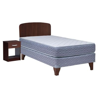 Cama Europea Celta Apolo Black / 1.5 Plazas / Base Normal  + Set De Maderas