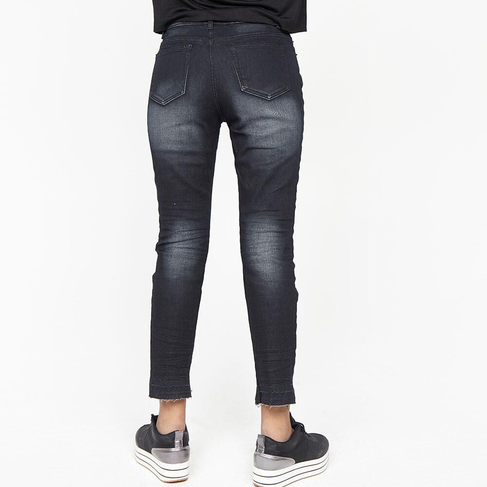 Jeans Mujer Tiro Medio Recto Crop Rolly go image number 2.0