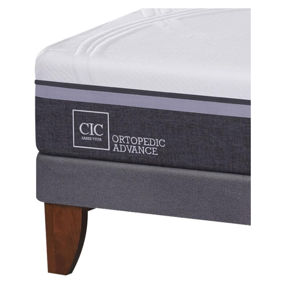 Cama Europea Cic Ortopedic Advance / 2 Plazas / Base Normal  + Set De Maderas + Almohada image number 4.0