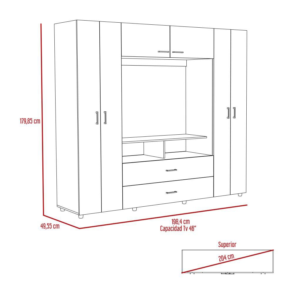 Closet Tuhome Z-200/ 6 Puertas/ 2 Cajones image number 6.0