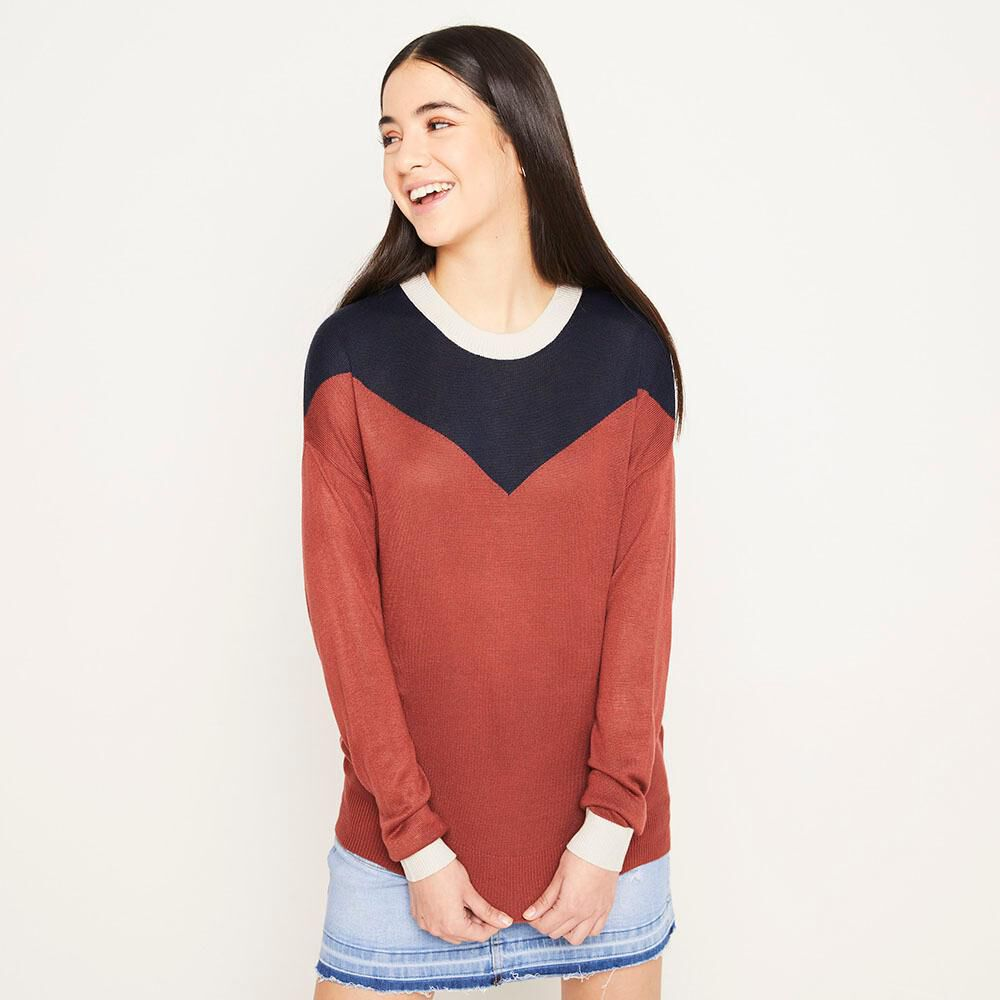 Sweater Bloque Regular Fit Cuello Redondo Mujer Freedom image number 0.0