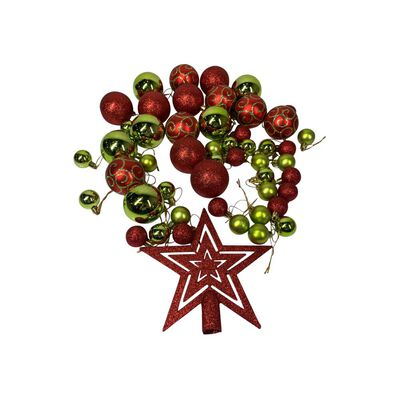 Esferas Casaideal Rojo/verde 49 Esferas + Estrella