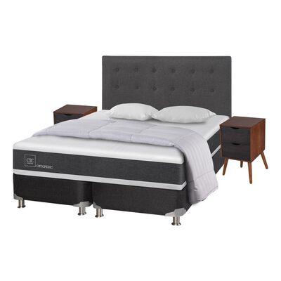 Box Spring Cic Ortopedic / 2 Plazas / Base Dividida  + Set De Maderas + Textil