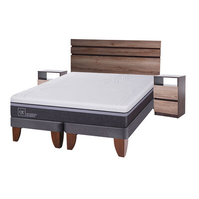 Cama Europea Cic Ortopedic Advance / 2 Plazas / Base Dividida + Set De Maderas