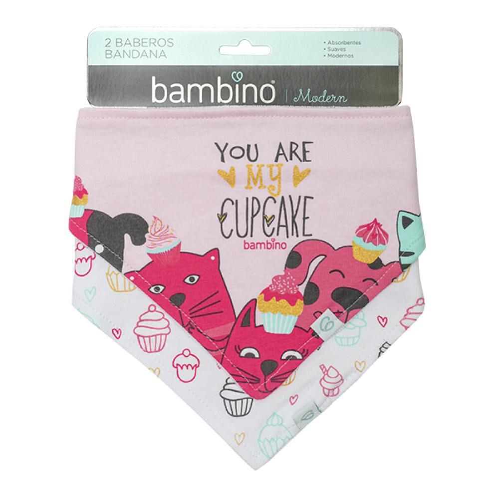 Set 2 Baberos Bandana Gatos Rosados You Are Cupcake Bambino  image number 0.0