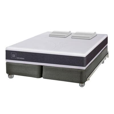 Box Spring Cic New Ortopedic / King / Base Dividida + Almohadas Viscoelásticas