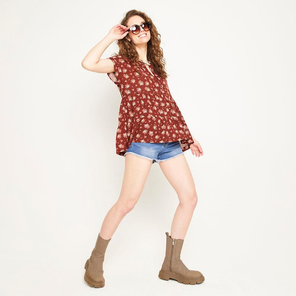 Blusa Relaxed Fit Manga Corta Cuello Redondo Con Lazo Mujer Freedom image number 1.0