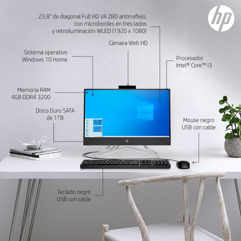 """All In One Hp V / Intel Core I3 / 4 Gb Ram / Intel Uhd / 1 Tb Hdd / 24 """" image number 7.0"""
