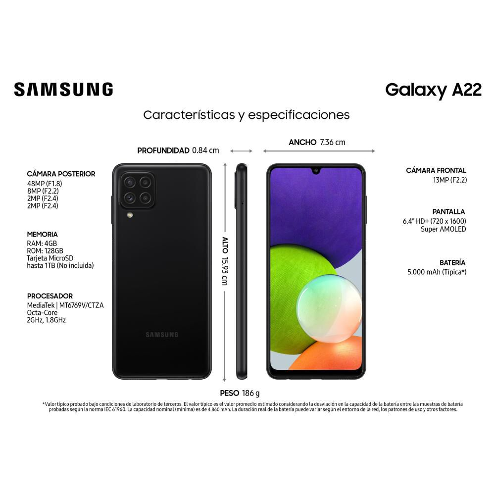 Smartphone Samsung Galaxy A22 / 128 Gb / Liberado image number 2.0