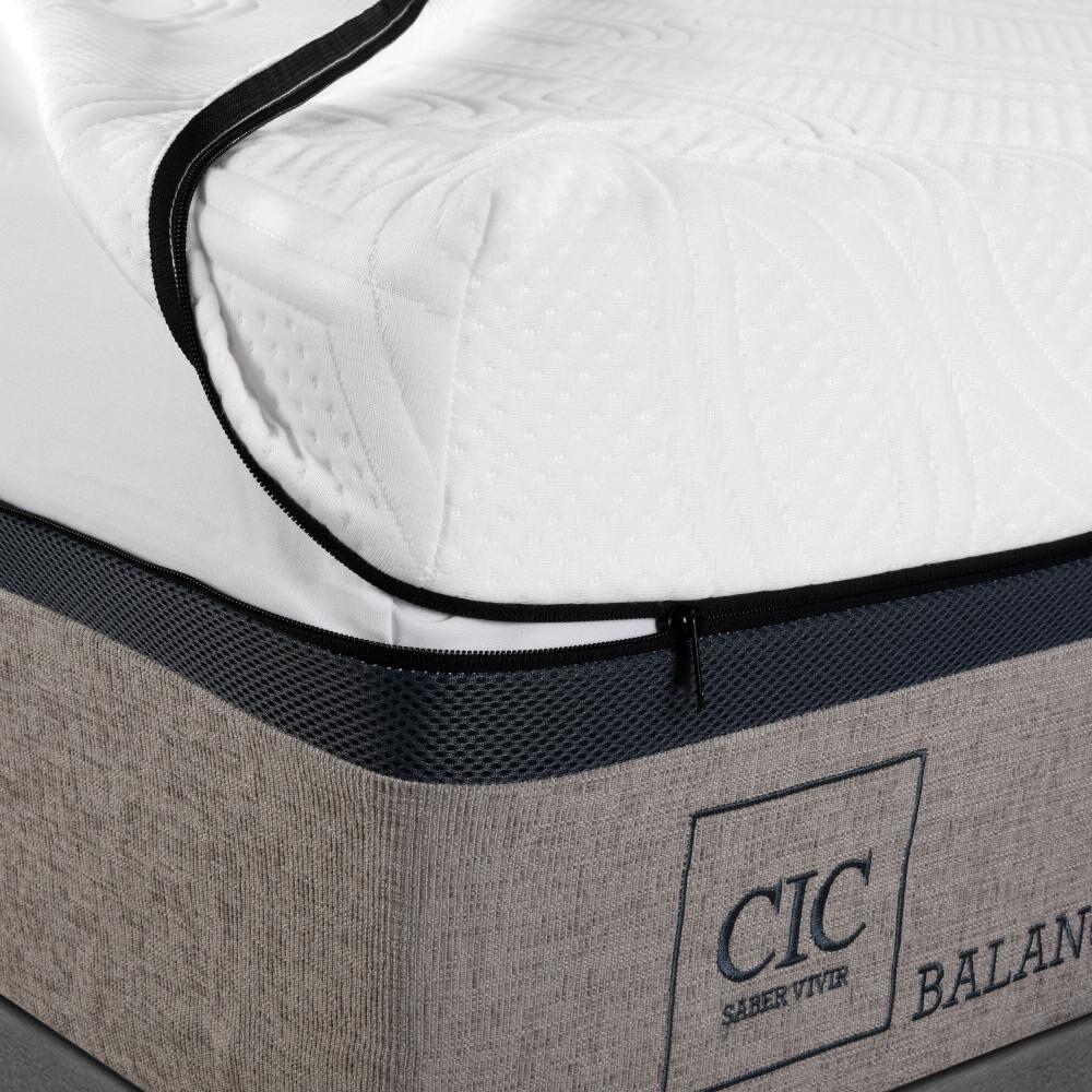 Box Spring Cic Balance / 2 Plazas / Base Dividida  + Set De Maderas image number 2.0