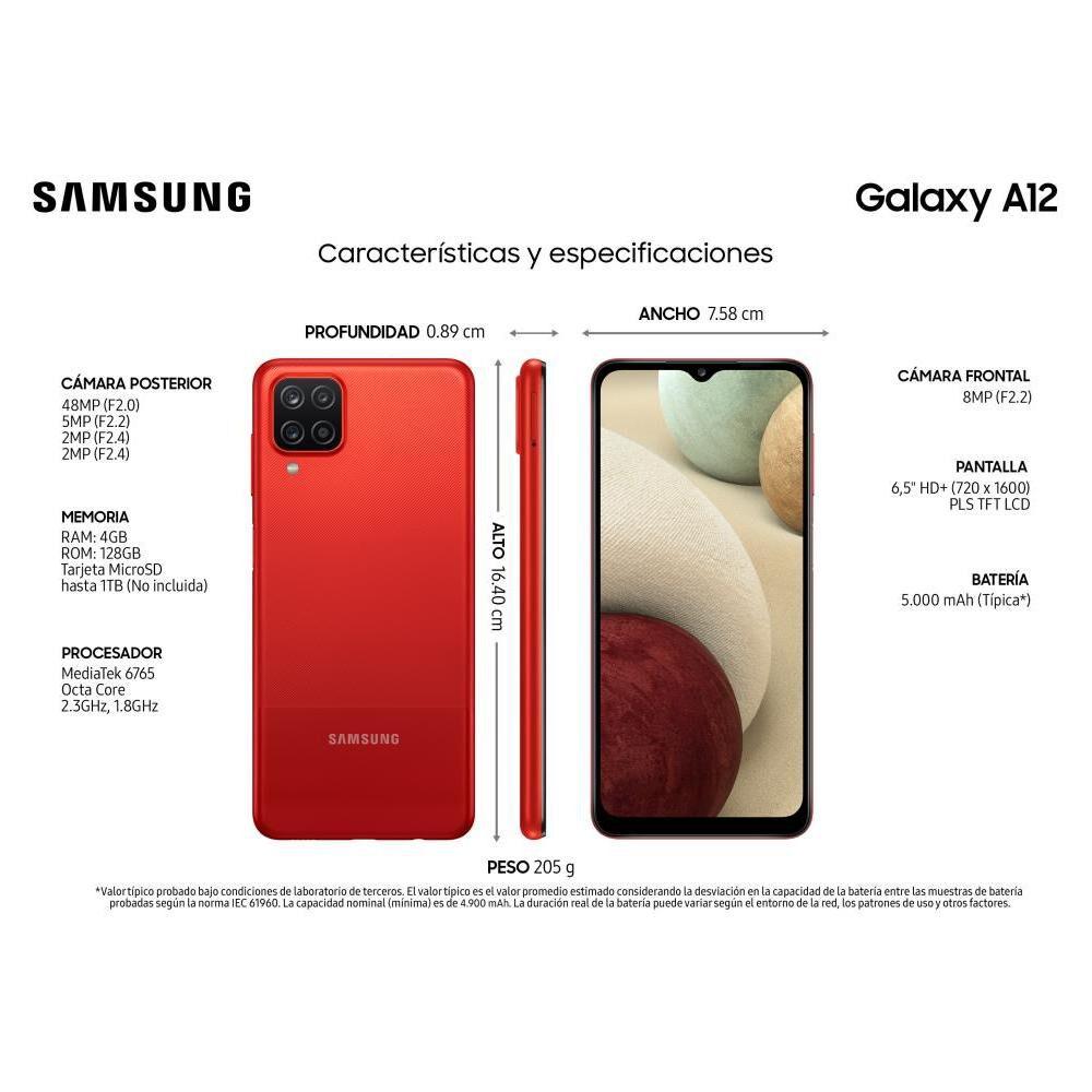 Smartphone Samsung Galaxy A12 Rojo 128 GB / Liberado image number 9.0