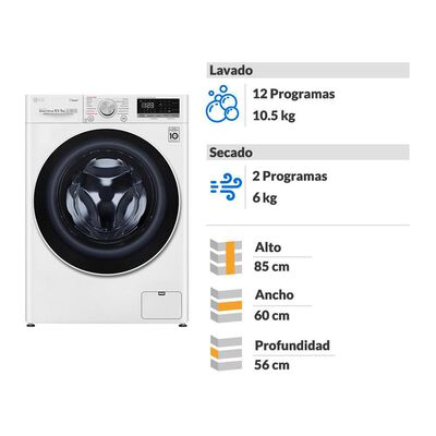 Lavadora Secadora LG WD10WVC4S6 / 10.5 Kg / 6 Kg