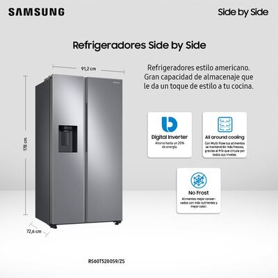 Refrigerador Samsung No Frost, Side By Side RS60T5200S9/ZS / 602 Litros