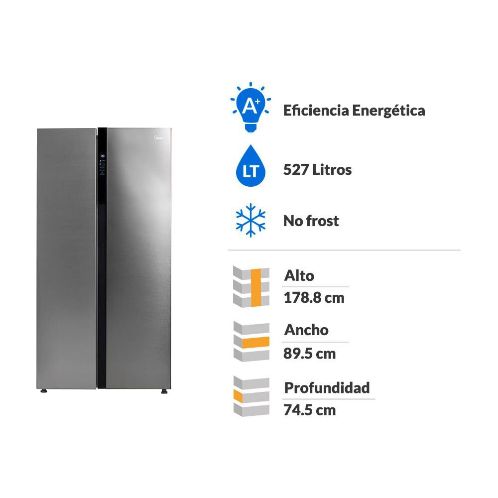 Refrigerador Side By Side Midea MRSBS-5300G689WE / No Frost / 527 Litros image number 1.0