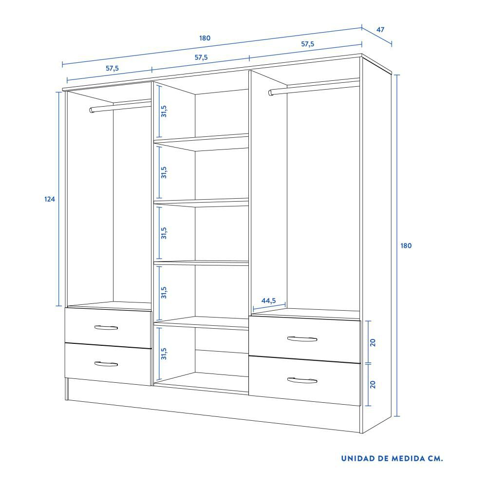Closet Cic Maipo / 6 Puertas / 4 Cajones image number 4.0