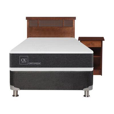 Box Spring Cic Ortopedic / 1.5 Plazas / Base Normal + Set De Maderas