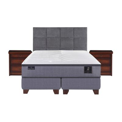 Box Spring Cic Premium / King / Base Dividida  + Set De Maderas