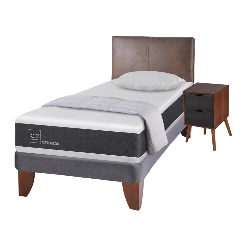 Cama Europea Cic Ortopedic / 1.5 Plazas / Base Normal  + Set De Maderas + Textil image number 1.0