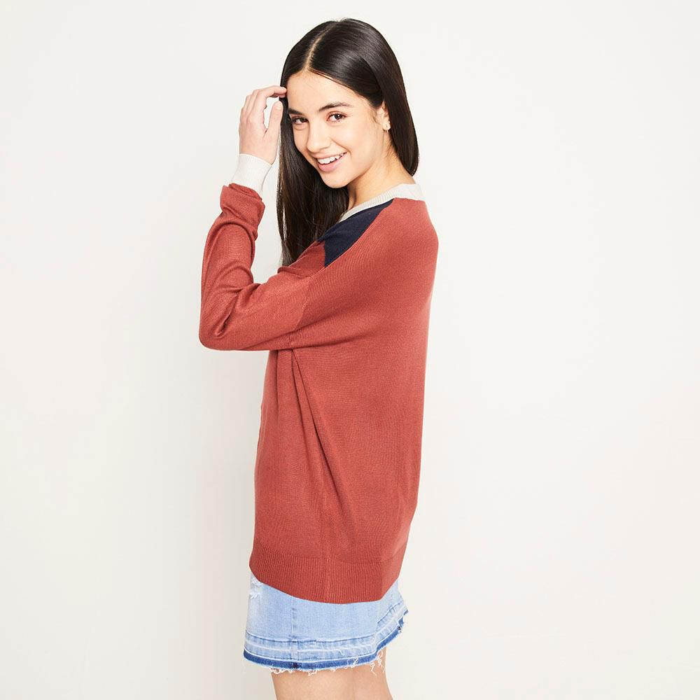 Sweater Bloque Regular Fit Cuello Redondo Mujer Freedom image number 2.0