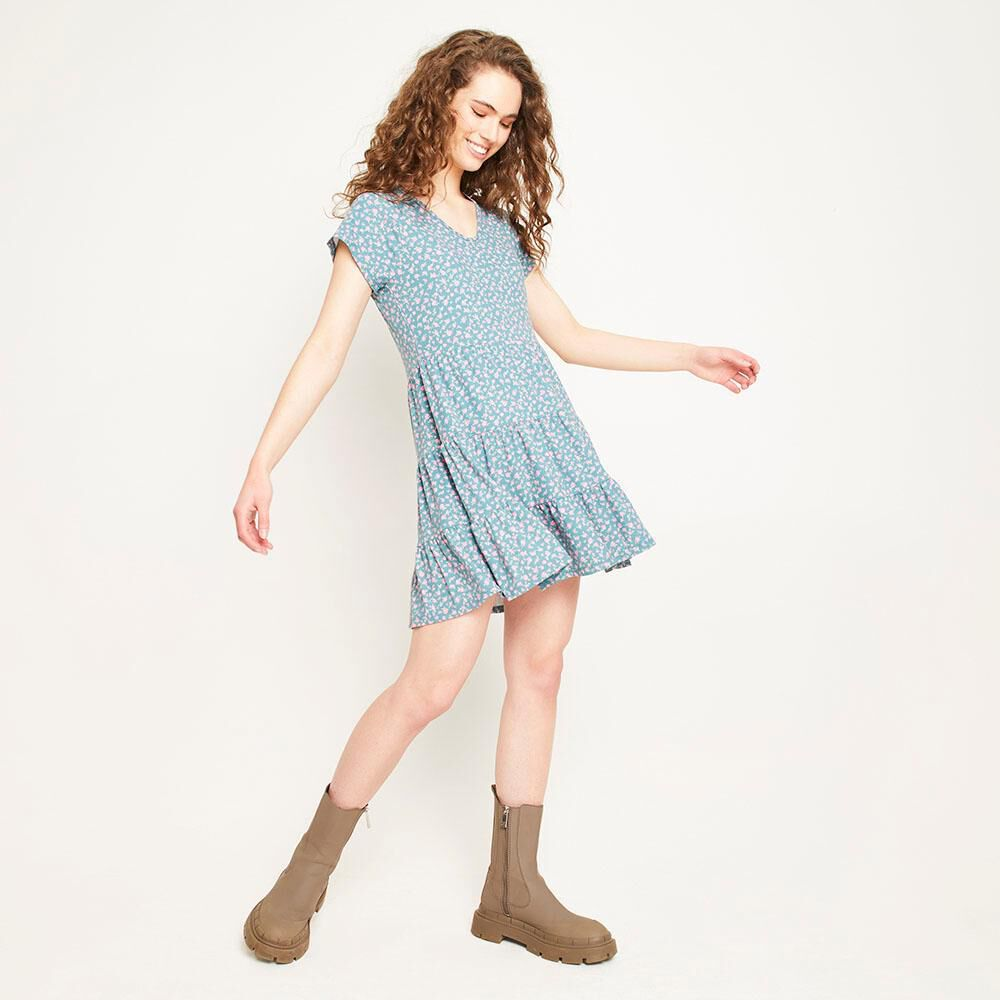 Vestido Corto Relaxed Fit Manga Corta Mujer Freedom image number 1.0