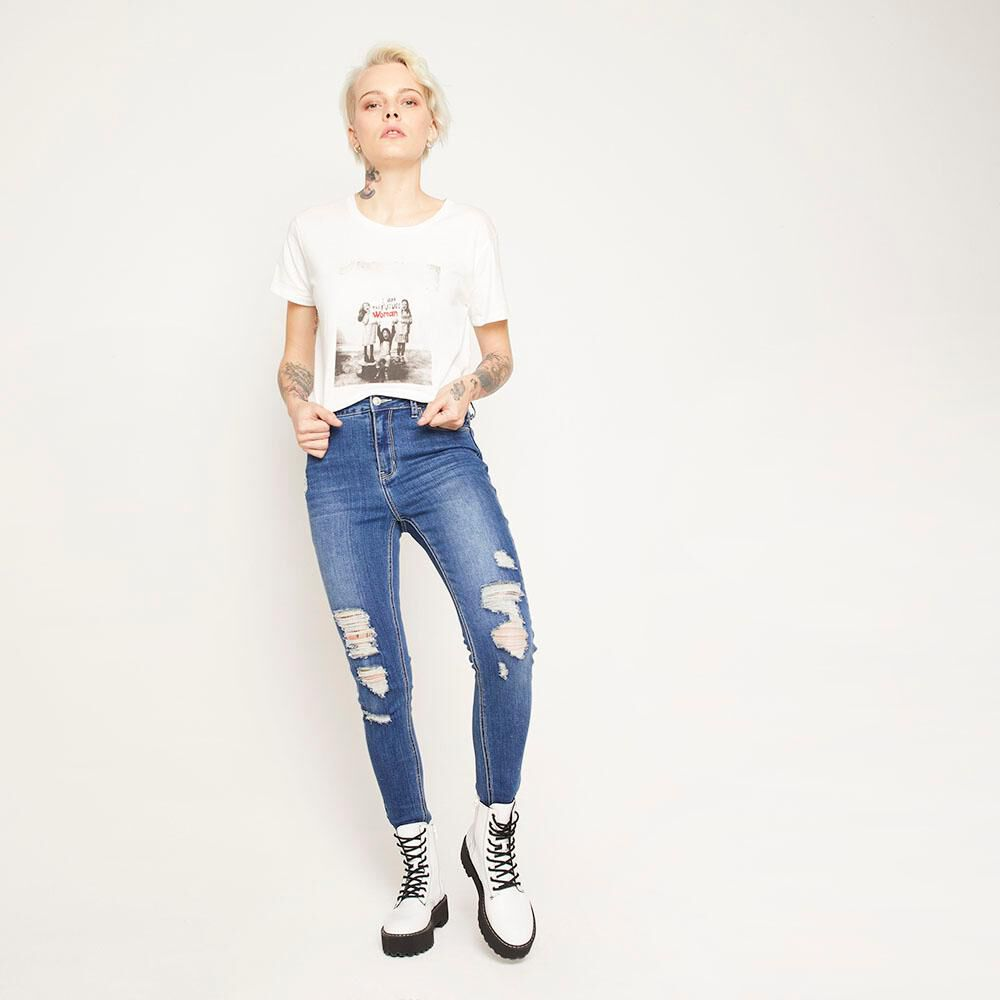 Polera Estampada Relaxed Fit Manga Corta Mujer Rolly Go image number 4.0