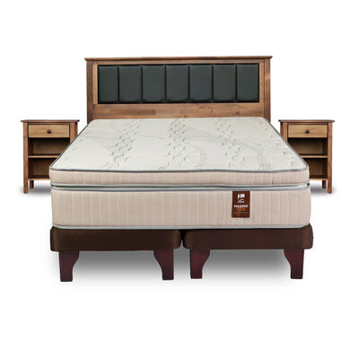 Cama Europea Flex Maximo Cobre / King / Base Dividida + Set de Maderas Rodas