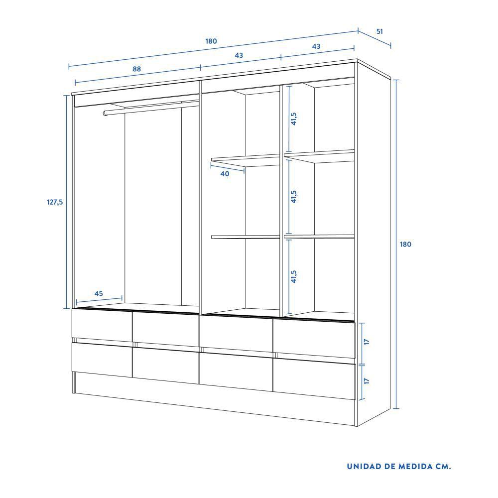 Closet Cic Mel. Cerezo 15 Mm. / 4 Puertas / 8 Cajones image number 4.0
