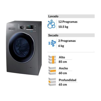 Lavadora-Secadora Samsung WD10J6410AX 10.5 / 6 Kg