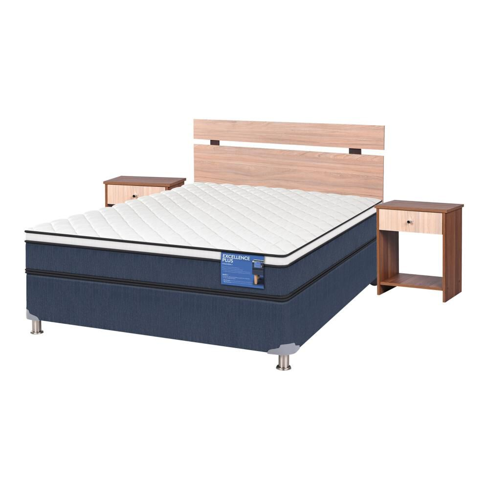 Cama Americana Cic Excellence Plus / 2 Plazas / Base Normal  + Set De Maderas image number 1.0