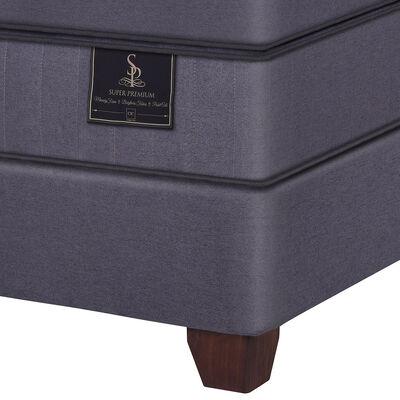 Box Spring Cic Super Premium / 2 Plazas / Base Dividida + Set De Maderas Miro + Textil