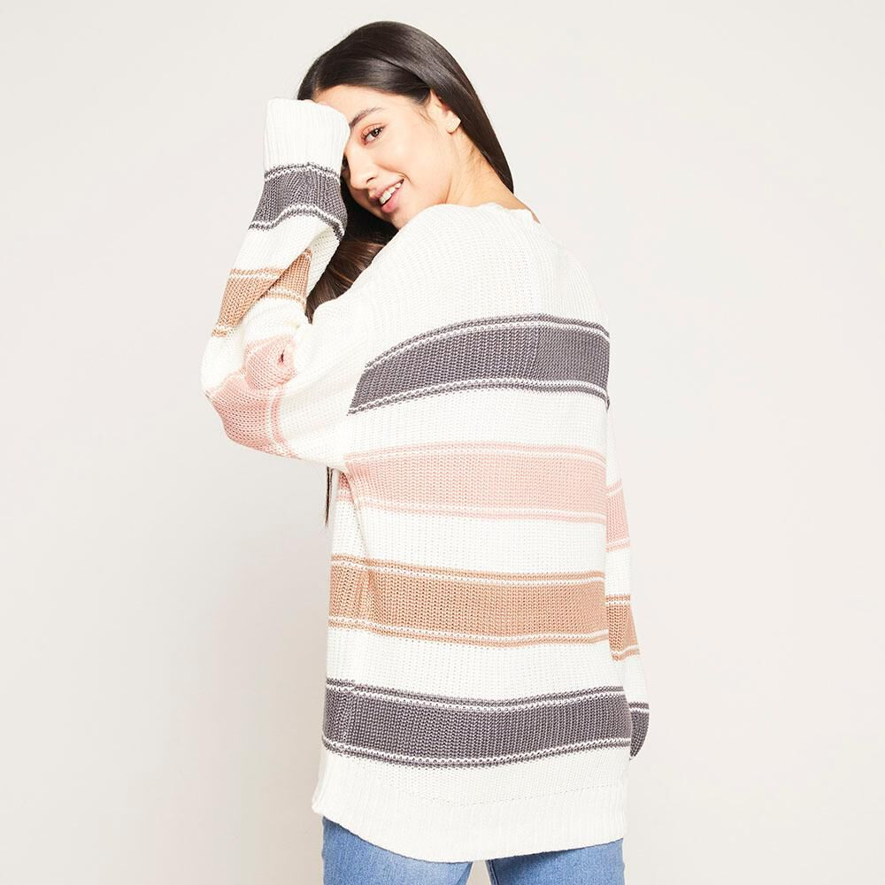 Sweater Lineas Relaxed Fit Cuello Redondo Mujer Freedom image number 2.0