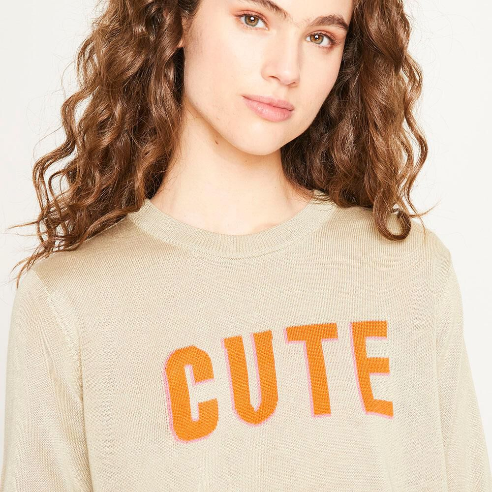 Sweater Texto Regular Fit Cuello Redondo Mujer Freedom image number 3.0