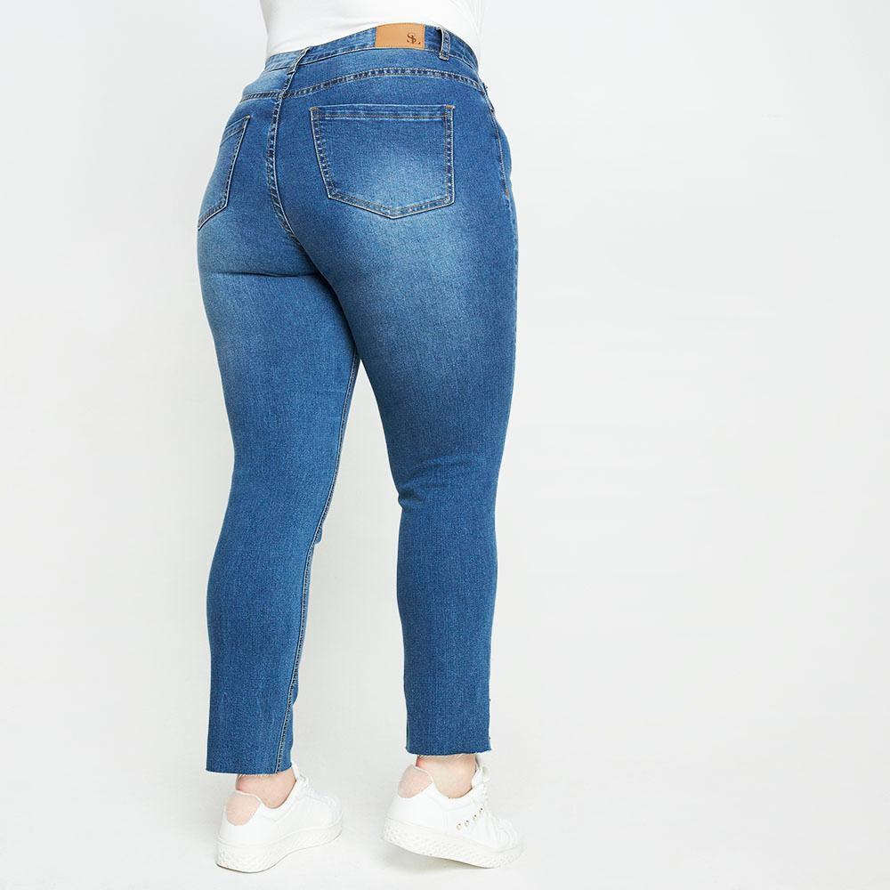 Jeans Con Aplicación Perlas Tiro Medio Regular Mujer Sexy Large image number 2.0