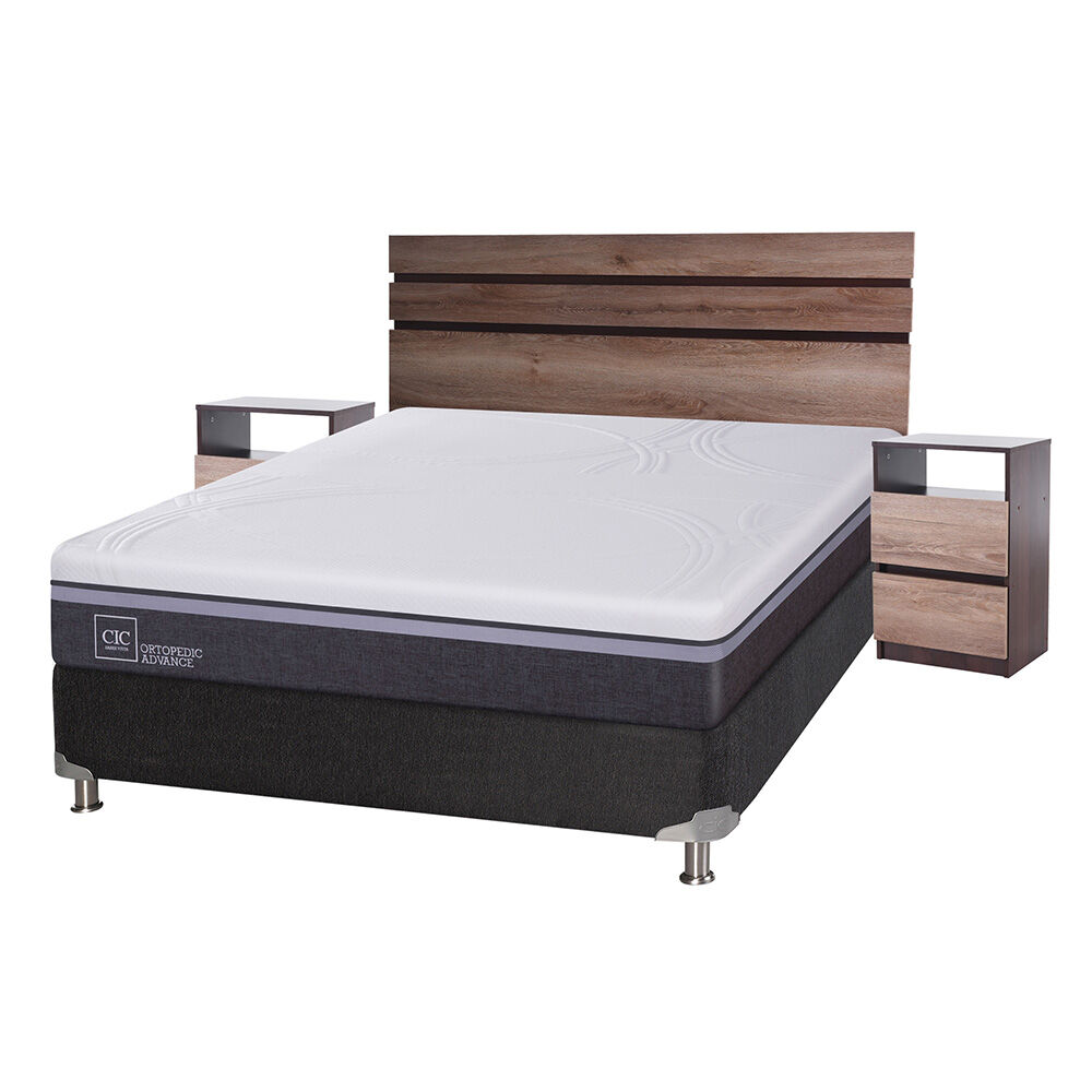 Box Spring Cic Ortopedic Advance / 2 Plazas / Base Normal + Set De Maderas Ares image number 0.0