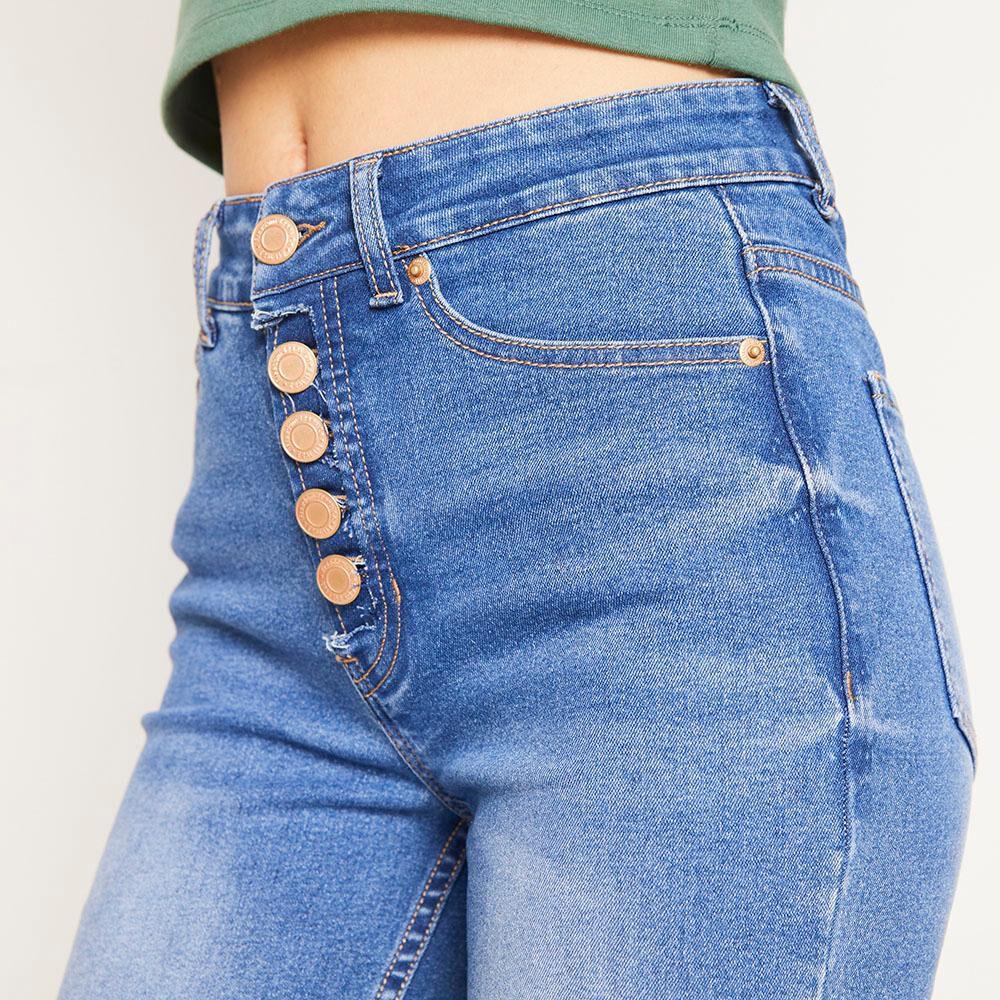 Jeans 5 Botones Tiro Alto Skinny Con Roturas Mujer Freedom image number 3.0
