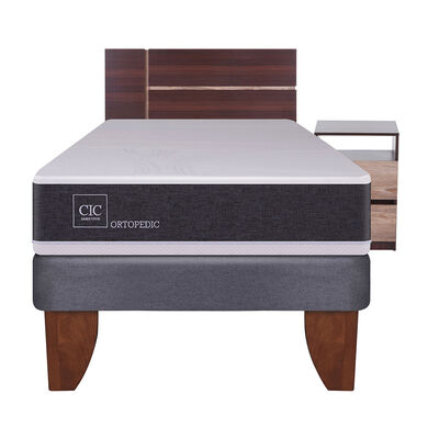 Cama Europea Cic New Ortopedic / 1.5 Plazas / Base Normal + Set De Maderas
