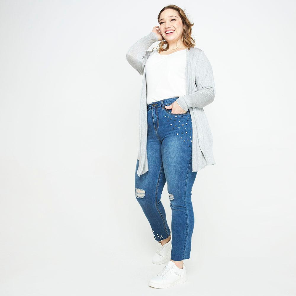 Jeans Con Aplicación Perlas Tiro Medio Regular Mujer Sexy Large image number 1.0