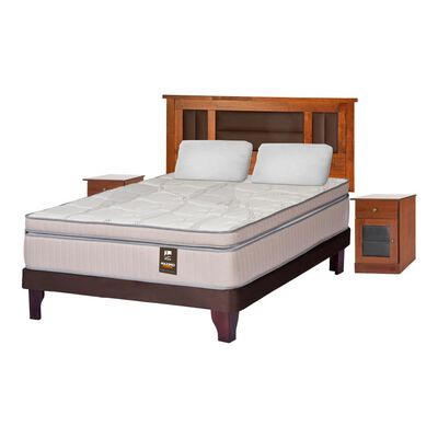 Cama Europea Flex Máximo Cobre / 2 Plazas / Base Normal  + Set De Maderas + Almohadas