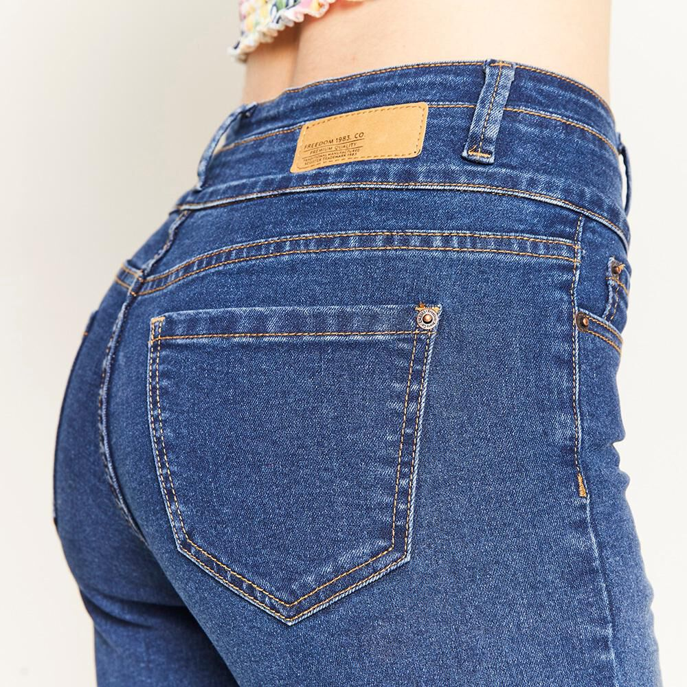 Jeans Pretina Alta Botones Frontales Sculpture Mujer Freedom image number 4.0