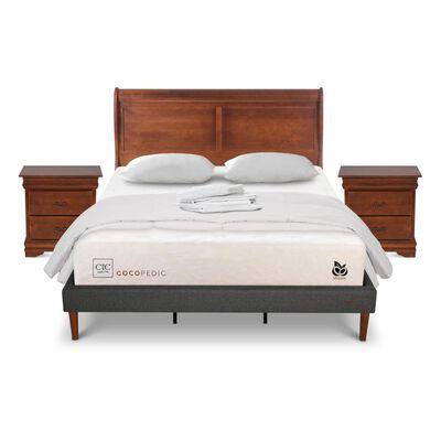 Cama Europea Cic Cocopedic / King / Base Normal + Set De Maderas + Textil