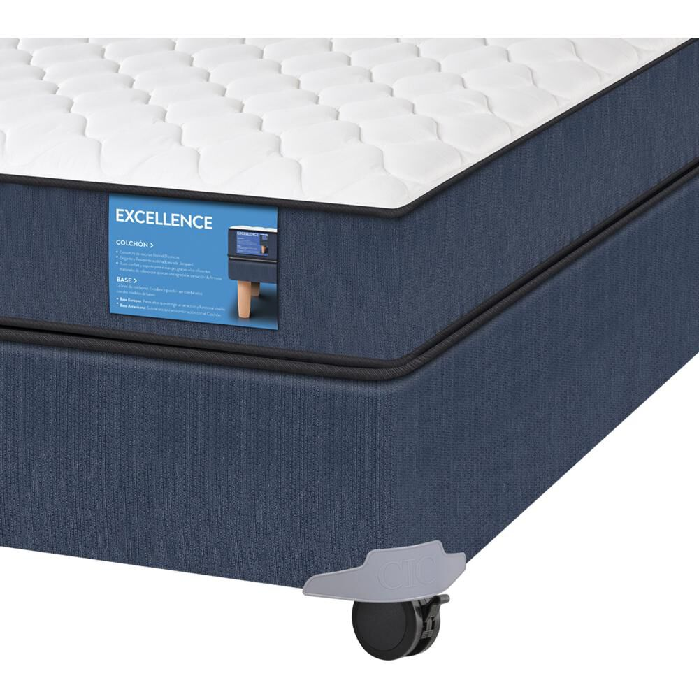 Cama Americana Cic Excellence / Full / Base Normal  + Set De Maderas image number 2.0